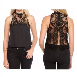 Free People Tied To You Lace Open Back Blouse